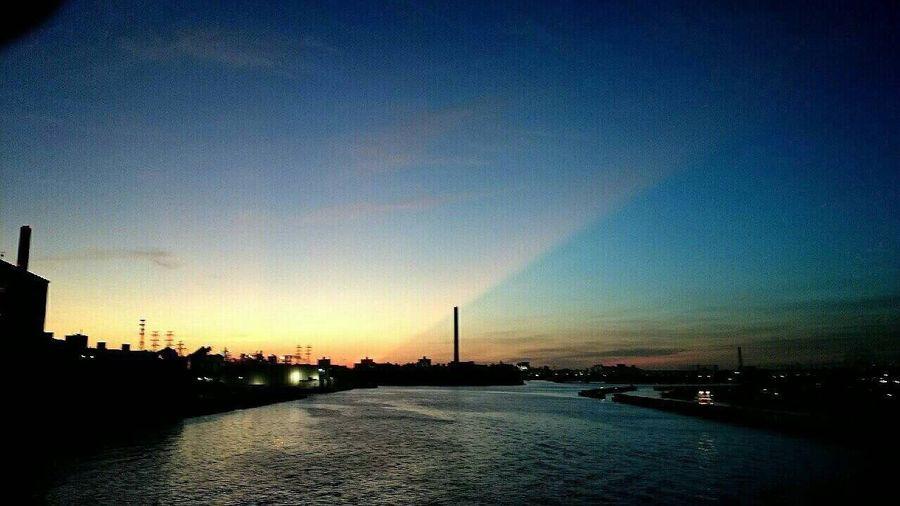 Japan chiba Water river 日本の千葉からの一枚 新しい1日がまた始まる