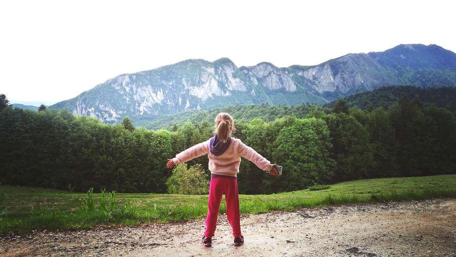 Blond Hair Young Women Mountain Full Length Women Standing Summer Beautiful Woman Front View Human Arm