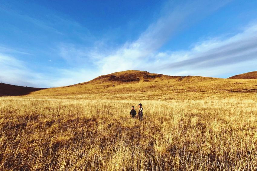 Field Nature Landscape Men Real People Sky Grass One Person Lifestyles Sunlight Day Leisure Activity Outdoors Adventure Scenics Women Beauty In Nature Mammal Adult People