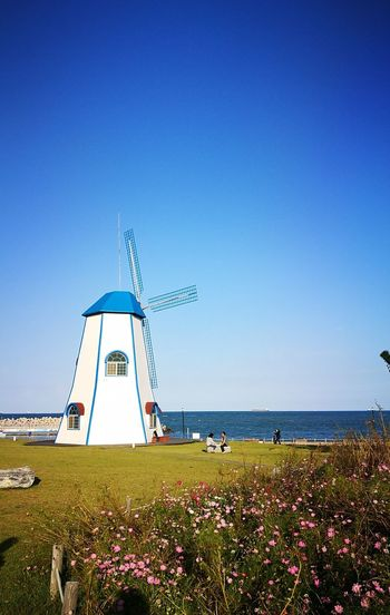 간절곶 울산 Water Flower Sea Clear Sky Blue Lighthouse Beach Red Sky Horizon Over Water