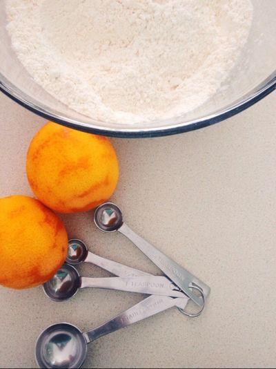 Oranges Zest Orange Zest Spoons Measuring Spoons Mixing Bowl Mixing Bowl Flour Cake Mix