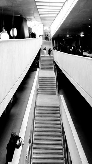 Long way... Architecture Built Structure EyeEm Black&white! Black & White StairwaytoHeaven Stairs Stairs_collection Lonely Loneliness Abandoned Places Modern Architecture Neandertal Museum Exceptional Photographs Black And White Friday EyeEm Ready