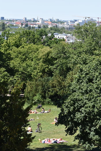 High angle view of people relaxing in park