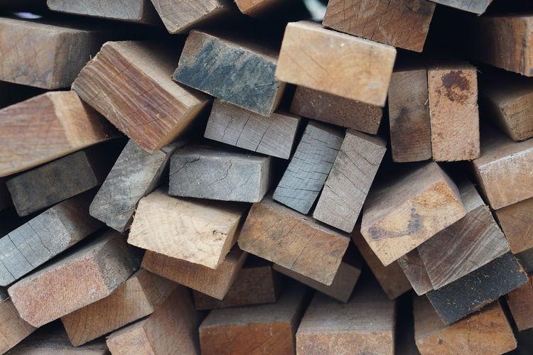 Full frame shot of stack of firewood