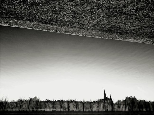 Upside down Evening Lake Water Reflections Beautiful Day Black & White Sky