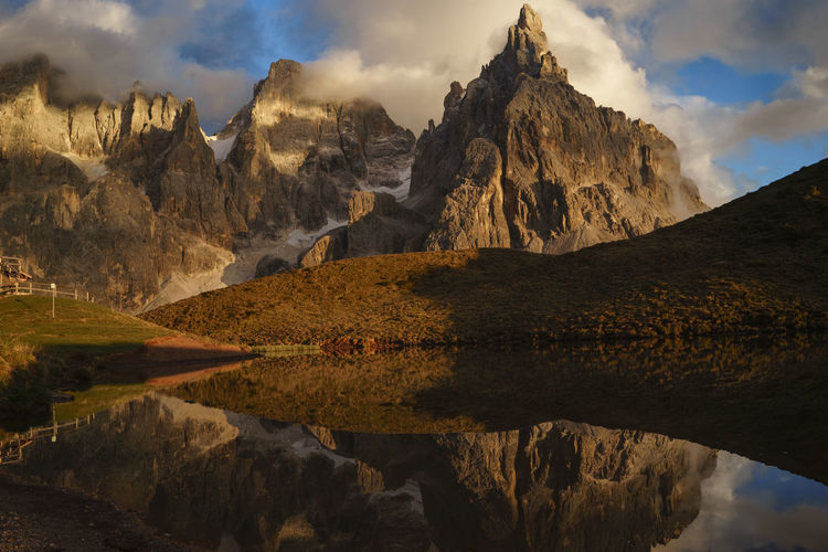 Scenic view of rocky mountains with reflection on lake