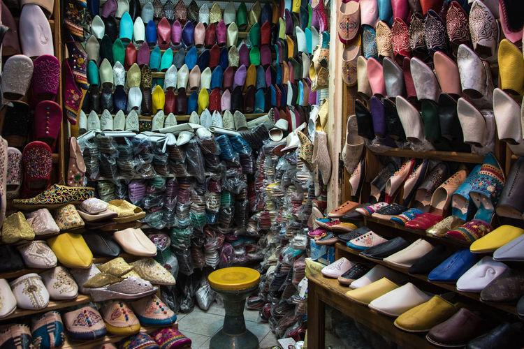 Shoes shop Morocco Rabat Rabat Morocco Abundance Arrangement Business Choice Collection Consumerism For Sale Large Group Of Objects Market Market Stall Maroc Multi Colored No People Order Retail  Retail Display Sale Shoe Shopping Small Business Store Variation