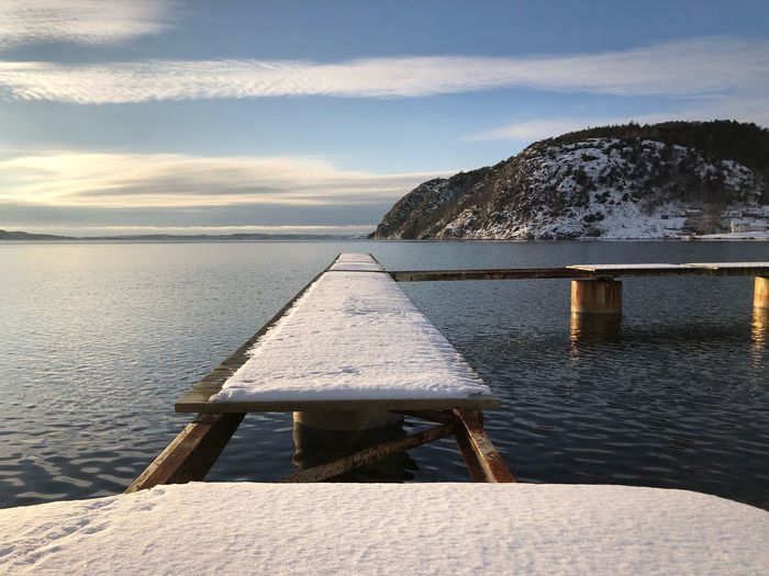 Snow Winter Jetty Water Sky Scenics - Nature Nature Tranquility Tranquil Scene Beauty In Nature
