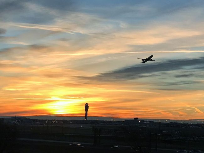 Two of my favorite things to photograph; sunrises and airplanes. Aviation Airport Airplane Sunrise Flying Silhouette