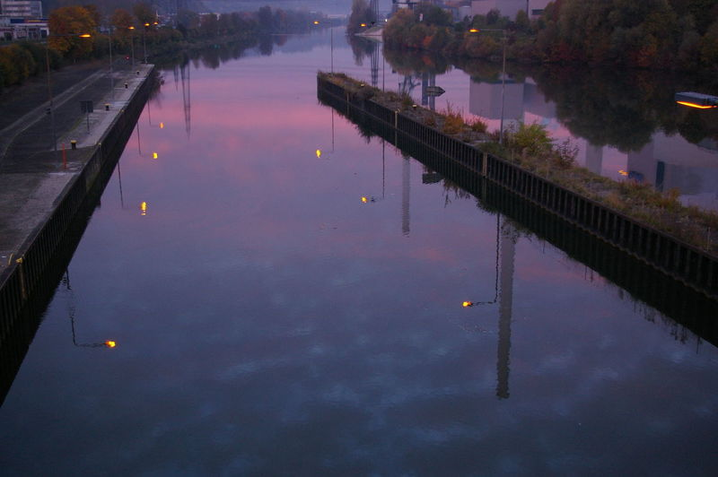 River Neckar River View Architecture Built Structure High Angle View No People Outdoors Reflection Standing Water Violet Violet Morning Water Waterfront