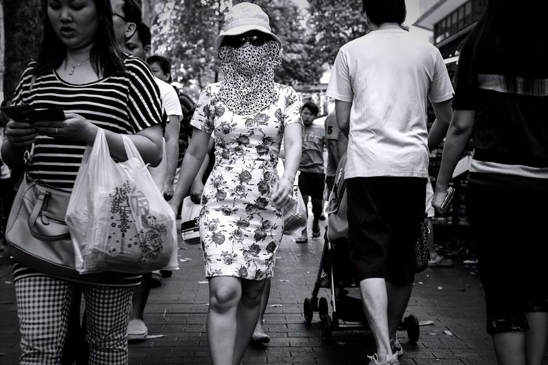 The cover up Mask Dress People Photography Blackandwhite Streetphotography