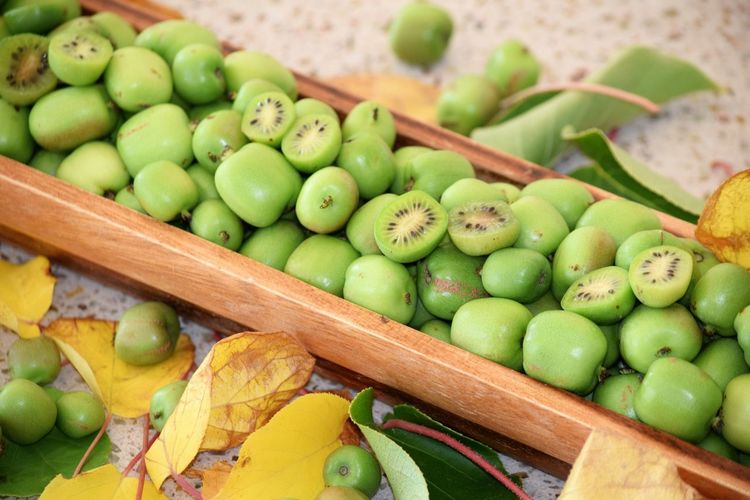 High Angle View Of Kiwis In Wooden Container