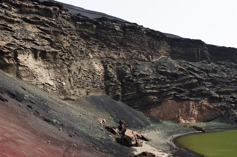 Green lake by rocky cliff at el golfo