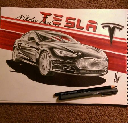 Tesla Drawing Check This Out Tattooartist  Fullcustomtattoo Torstenmatthes Mrttattoo Car Electriccar