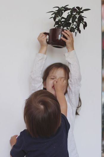 Rear view of boy pinching sister holding houseplant against wall