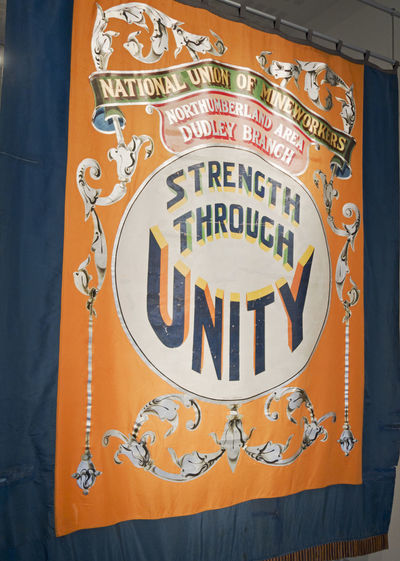 Banner of the Dudley branch of the National Union of Mineworkers, UK Banner Community Dudley Flag History Mineworkers National Union Of Mneworkers Northumberland Num Uk