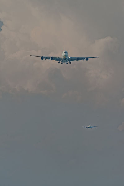 Back to Back Singapore Pentax PENTAX K-1 Pentax 150-450 F/4.5-5.6 Telephoto Minimalism Low Angle View Airbus A 380 Four Engines Aerospace Industry Air Vehicle Airplane Cloud - Sky Commercial Airplane Day Flying Low Angle View Mid-air Mode Of Transportation Motion Nature No People Outdoors Overcast Plane Public Transportation Sky Transportation Travel The Great Outdoors - 2018 EyeEm Awards The Traveler - 2018 EyeEm Awards