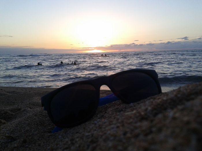 Relaxing Taking Photos Beach Hawaii Sunset Hawaii Waves Sunglasses