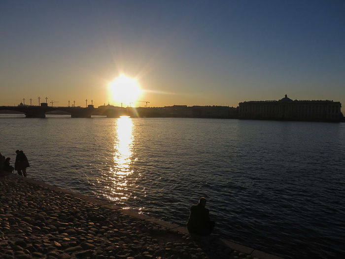 Sunset Neva River people Relaxing Historic City