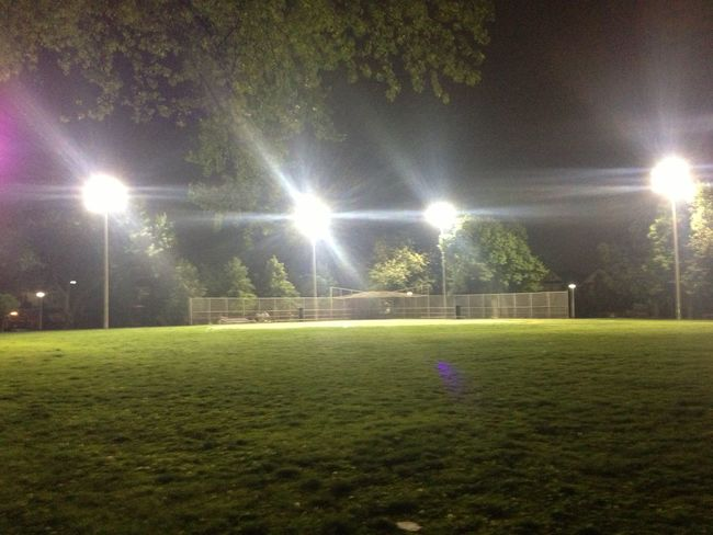 After Game Baseball Diamond Grass Green Color Lighting Equipment Night No People Park ライトアップ 公園 夜 野球場 野球場ライトアップ