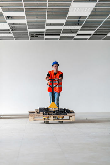 Manual worker working at construction site