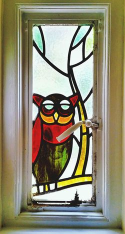 Stained Glass Window Owl Colour