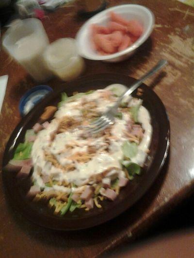 Almond Milk,Salad,Carrots w/Ranch #Grumbing :)