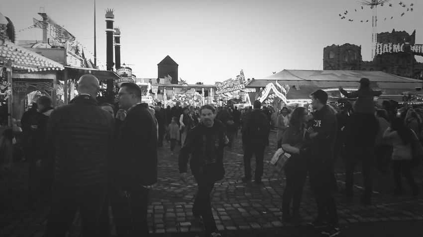 Bremer Freimarkt People Watching Hello World Black And White