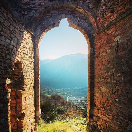 Architecture History Old Ruin Arch Sky Travel Destinations Ancient Built Structure Scenics Tourism Clear Sky Nature Tree Outdoors Beauty In Nature No People Landscape Natural Arch Ancient Civilization Day Monte Nerone Marche Italy