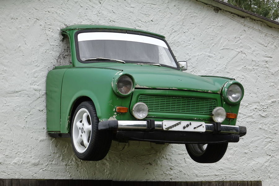 601 Car Cut In Half Day DDR GDR Hanging On The Wall Land Vehicle Mode Of Transport No People Old-fashioned Outdoors Retro Styled Stationary Tire Trabant Transportation Vintage