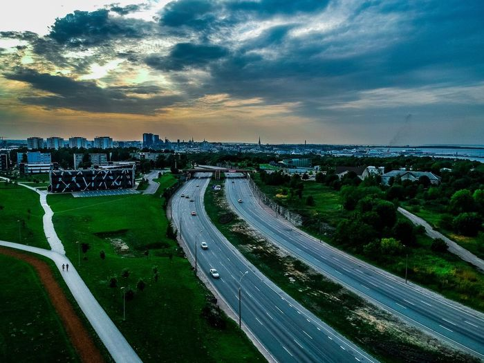 Sky Architecture Cloud - Sky Built Structure Building Exterior City Road High Angle View Nature Transportation Cityscape No People Building Sunset Car Street Outdoors