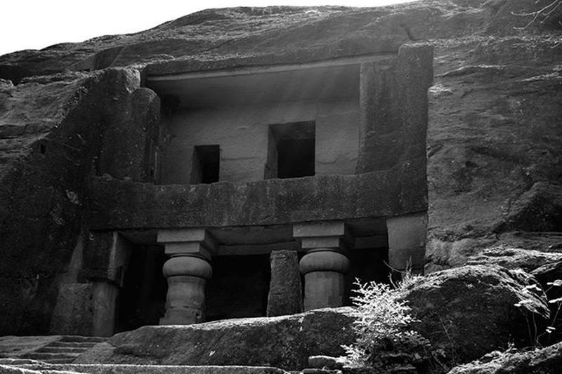 Travel Explore Sgnp Afternoon Blackandwhite Kanhericaves Rockcut Monument Entrance Buddhist Influence Artandculture India