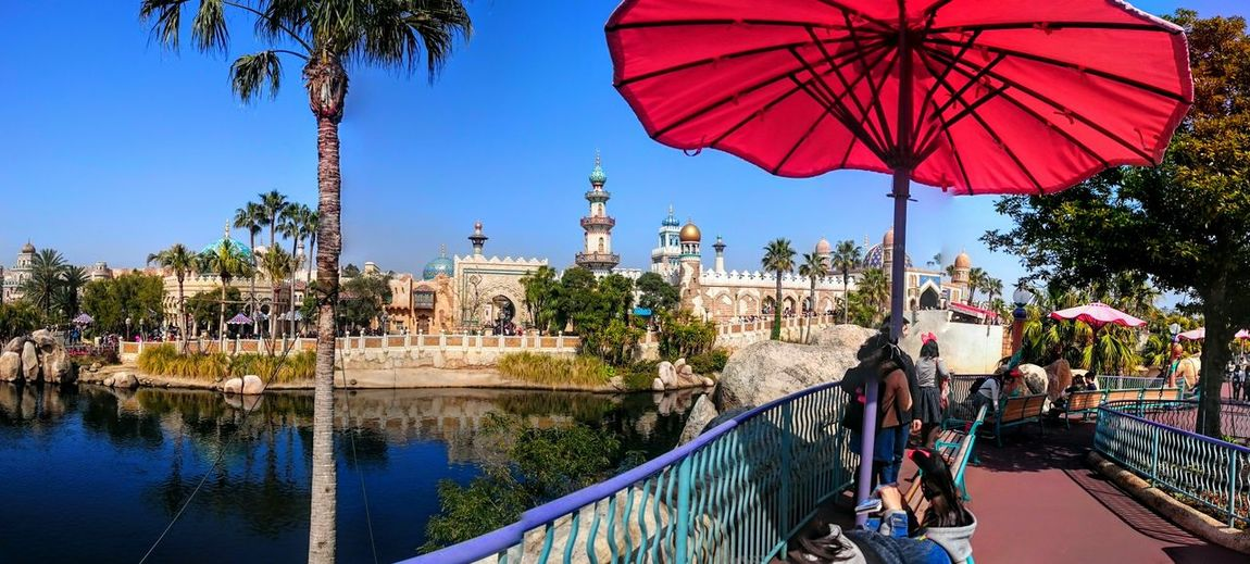 Tokyo Tokyo Disney Sea Arabian World Theme Park Sunny Day Blue Skies Bazaar Sun Umbrella Promenade Bridge Japan Panorama Shot