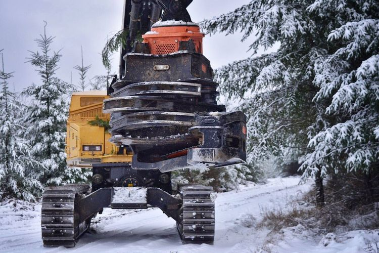 Processor Snow Winter Cold Temperature Nature Outdoors Weather Snowing Non-urban Scene Tree Mode Of Transport Beauty In Nature Covering Scenics Landscape One Person Sky Day People Logging Equipment Equipment Logging Logging Roads Office View Machinery Mountain