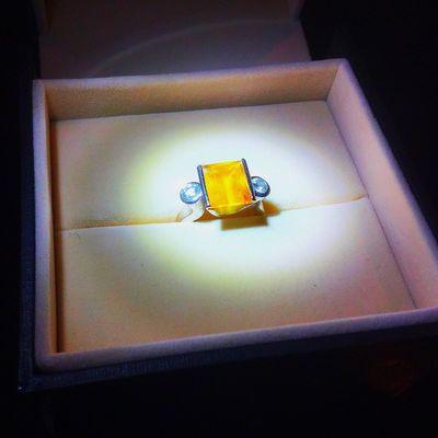 The Imperial Topaz is a girls best friend 💍💋 Yellow Indoors  High Angle View Yellow Color No People Ring Top Topaz Darkness And Light Gem