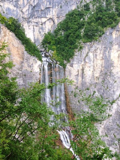 Rock Formation Rock - Object Waterfall Scenics Nature No People Tree Cliff River Day Bovec Slovenia Outdoors Beauty In Nature Mountain Water