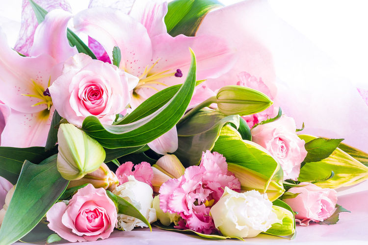 Blooming Bouquet Bunch Of Flowers Day Flower Flower Arrangement Flower Head Freshness In Bloom Petal Pink Color Rose - Flower Variation Lily