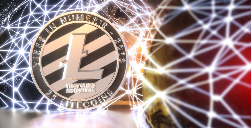 Currency LTC Bitcoin Blockchain Coin Concept Crypto Cryptocurrency Future Glow Lite Coin Litecoin Money