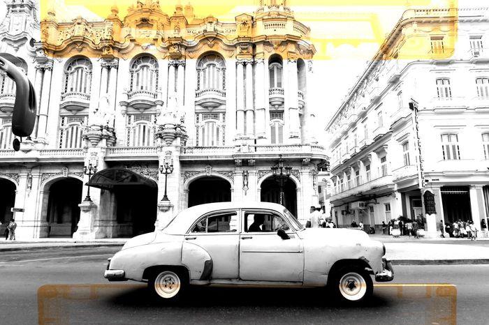 Architecture Cultures Transportation Built Structure Architectural Column Car Land Vehicle Building Exterior Mode Of Transport Travel Destinations City Outdoors Blackandwhite Cuba Havana EyeEm Best Shots - Black + White Monochrome La Habana