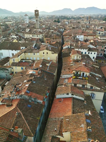 From Torre Guinigi Tuscany Toscana Lucca Rooftops Rooftop Torre Guinigi Mountain Landscape Outdoors Day No People Mountain Cityscape Sky City