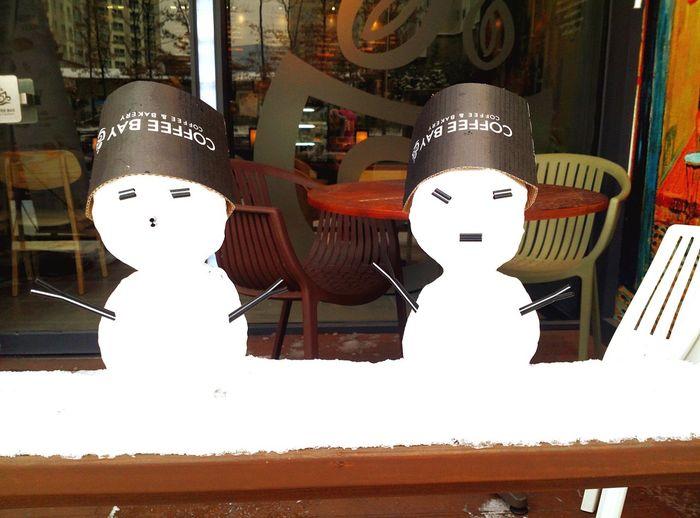 Snowman Winter Coffee Cafe Snow ❄ January Ice