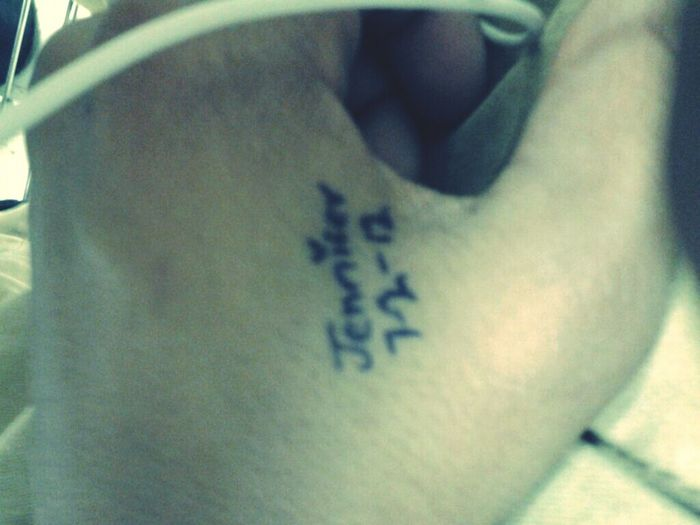 What My Bf Writes On His Hand <3