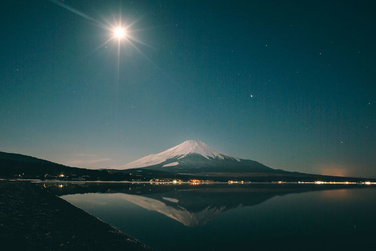 fuji san. Blue Clear Sky Fuji Lake Moon Mountain Mountain Range Mountains Night Reflection Sky Stars Water Ultimate Japan