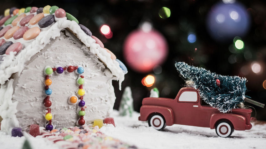 Gingerbread house Gingerbread Holiday Food Truck Gingerbreadhouse Red Truck Gingerbread House Night Before Christmas Christmas Bokeh Background EyeEm Selects Bokeh Candy Cane Holidays Food Candy Candycane  Winter Christmas Snow Car Christmas Tree Christmas Decoration Cold Temperature Tree Christmas Ornament No People Christmas Present Christmas Lights