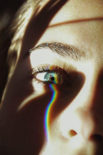 The eye that sees it all Nikon EyeEmBestEdits EyeEmBestPics EyeEmNewHere EyeEm Best Shots Rainbow Human Eye Human Body Part Eyelash One Person Eyesight Close-up Multi Colored Eyeball Real People Human Skin Sensory Perception Human Face Make-up Iris - Eye Human Hand Indoors  Eyebrow People Day