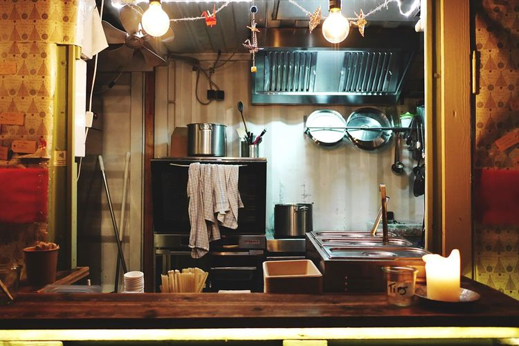 Kitchen interior Utensils Chef Cooking Business Small Business Commersial Kitchen Life Kitchen Life Kitchen Utensils Interior Indoors  Kitchen No People Hanging Wood - Material Shelf Illuminated Cabinet