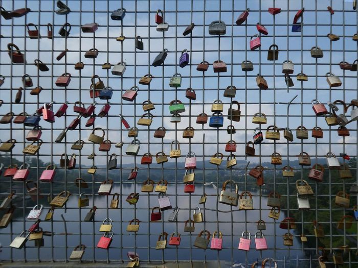 Close-up of love locks on chainlink fence