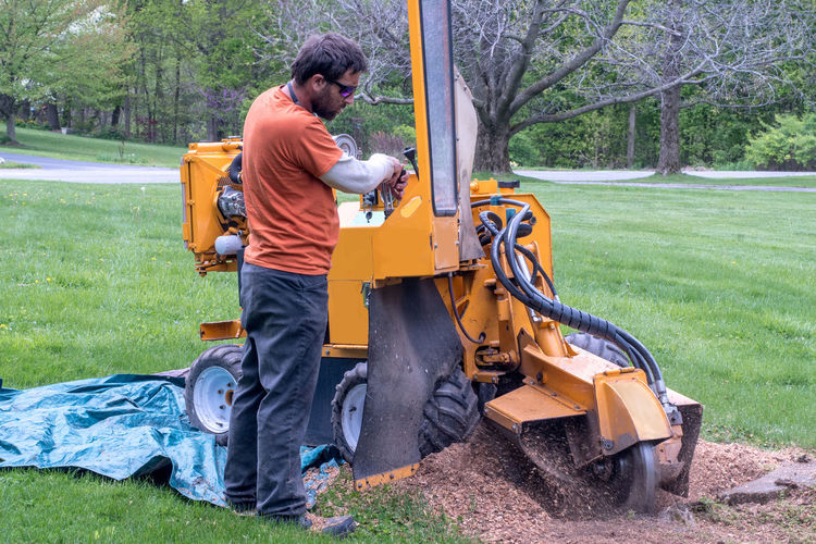 Side view of man using equipment on land