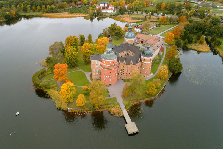 Aerial view of the Gripsholm castle during the autumn cseason. Architecture Autumn Europe Trip Gripsholm Mariefred Red Security Sweden Travel Aerial View Beauty In Nature Brick Building Exterior Built Structure Castle,a Destination Europe Famous Place High Angle View Landmark