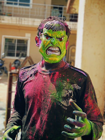 One Person Young Adult Multi Colored Holi Colors Holi Colour Festival Holi Celebration.india Celebration Outdoors Angry Face Angry Man EyeEm Diversity Art Is Everywhere Art Is Everywhere Mix Yourself A Good Time